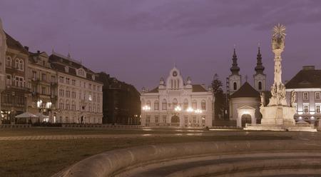 Night view of illuminated Trinity Column on Unirii Square, Timisoara, Romania