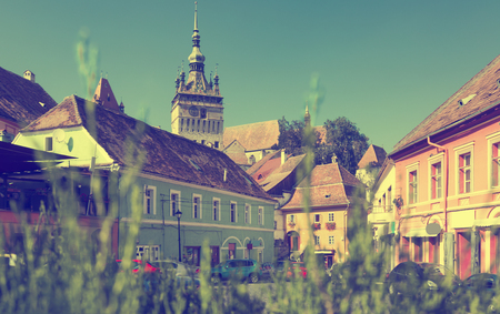 View on Clock tower in Sighisoara in Romania. Stock Photo