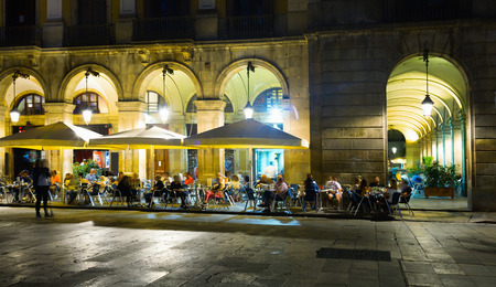 Placa Reial is famous tourist attraction in Barcelona, Spain