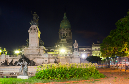 General view on Palace of National Congress in central part of Buenos Aires in evening 報道画像