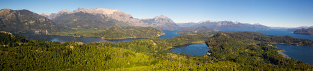 View of lakes Nahuel Huapi and slopes of mountain Cerro Campanario near Bariloche. Argentina, South America