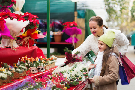 Woman with daughter looking at adornment with conifer in Christmas market. Focus on girl  Stock Photo