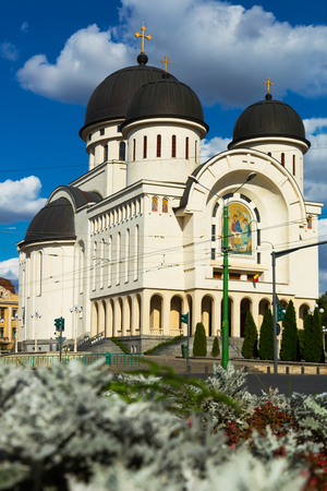 View of Holy Trinity Cathedral in Arad in sunny autumn day, Romania