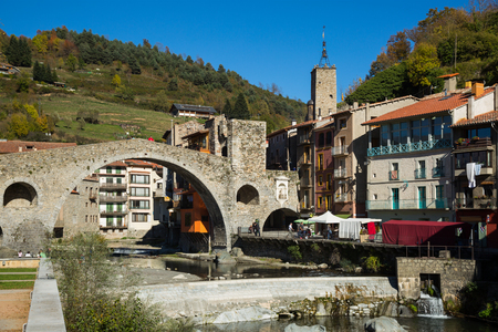 General view of town of Camprodon in Pyrenees at sunny day