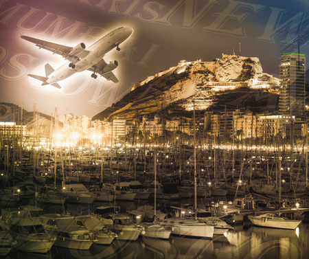 Airplane on illuminated background with yachts and harbor