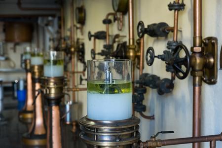 BADALONA, SPAIN - NOVEMBER 20, 2017: Equipment of Anis del Mono, famous distillery in Modernist style