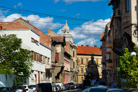 Peculiar architecture of houses on streets of Arad town, Romania