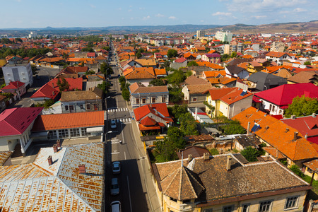 View of Drobeta Turnu-Severin tile roofs from Water Tower in sunny autumn day, Romania Stock Photo