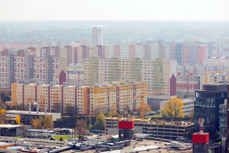 Panoramic view of  district of Bratislava with modern apartment buildings in Slovakia