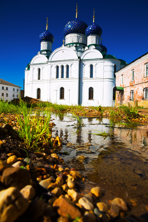 day shot of russian orthodox Epiphany monastery complex in Uglich town, Russia on summer day Stock Photo