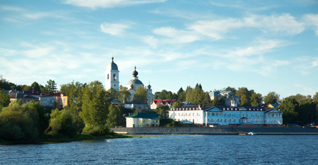provincial town Myshkin cityscape outstanding on waterfront of Volga river