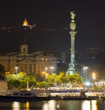 view to Barcelona  Port  with statue of Columbus  in  night. Barcelona, Spain Stock Photo
