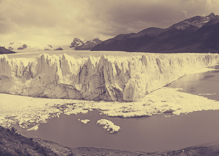View on the Perito Moreno Glacier and surroundings in Los Glaciares National Park in Argentina