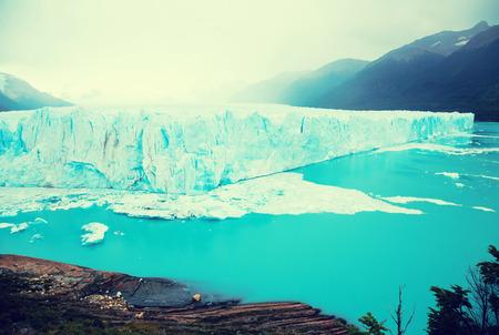 View of glacier Perito Moreno (Glaciar Perito Moreno) and slopes of Andes mountains, southeast of Argentina, province Santa Cruz Stock Photo