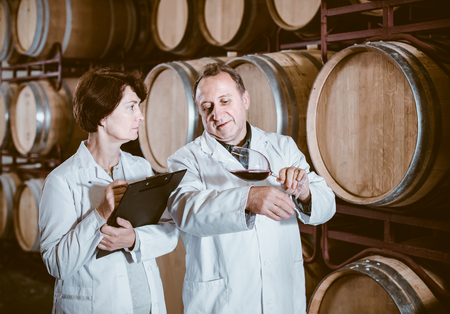 smiling spanish worker of winery holds glass of red wine in hand and shows him to expert Фото со стока
