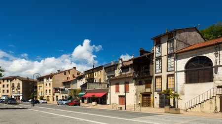 View of streets of medieval town of Salies-du-Salat, France