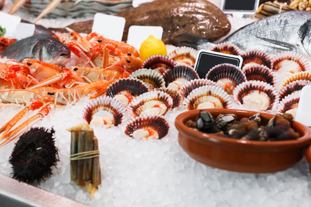 Variety of fresh seafoods on crushed ice in showcase of fish restaurant Stock Photo