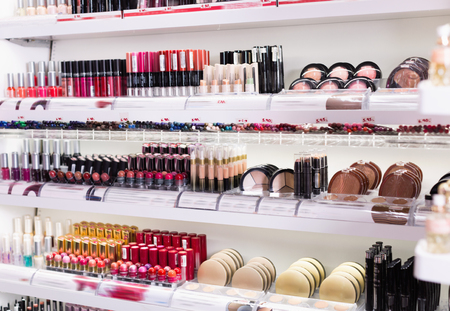 Variety of  fashionable, diverse, colorful assortment of modern cosmetics store Stock Photo
