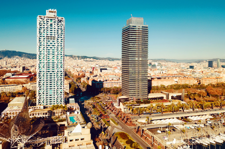 Two skyscrapers in seaside area of Barcelona, Spain
