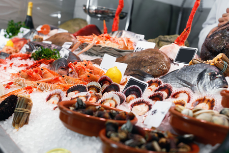 Large assortment of fresh seafoods suiting any taste on icy restaurant showcase