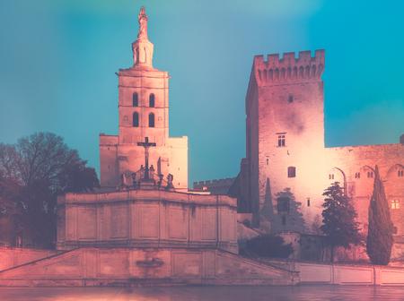 Evening view of Palais des Papes, historic centre of Avignon, France Stock Photo