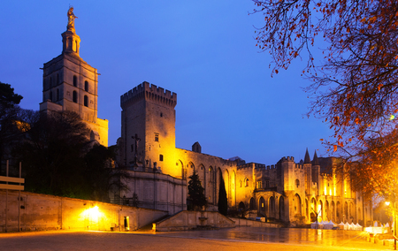 Greatest Gothic Palace of Popes in night lights, Avignon, France