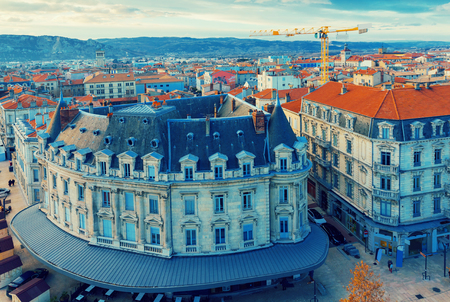 Panorama of french city Valence on north country outdoors.
