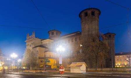 Night view of rear facade of medieval Madama Palace, Turin, Italy Stock fotó