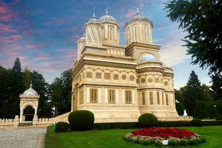 Image of Cathedral of Curtea de Arges outdoor. Stock Photo