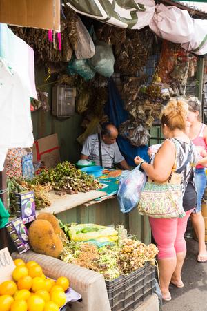 ASUNCION, PARAGUAY – FEBRUARY 15, 2017:  Various goods at central market place of Mercado 4 in Paraguayan capital city. Asuncion, Paraguay Stockfoto - 104794842