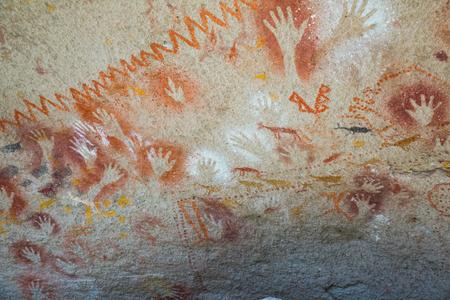 SANTA CRUZ, ARGENTINA – JANUARY 30, 2017:  Famous series of caves Cueva de las Manos with paintings of hands. Santa Cruz, Argentina