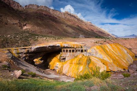 Inca Bridge (Puente del Inca) natural arch bridge over Vacas River, Mendoza, Argentina, South America