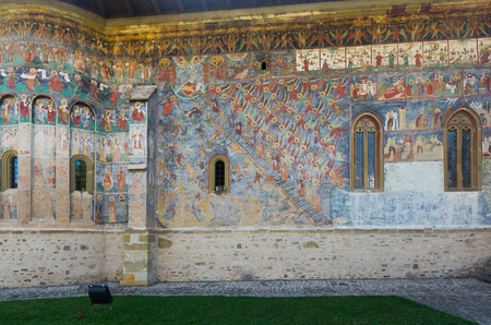 Illustrations of frescoes on outer walls of church of Sucevita Monastery in Romania. Imagens
