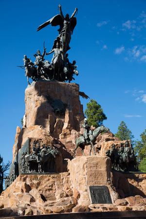 Monument near mountain Cerro de la Gloria in city park of Mendoza. Mendoza, Argentina, Patagonia, South America