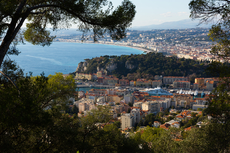 Nice cityscape with apartment buildings seaview, France Stock Photo
