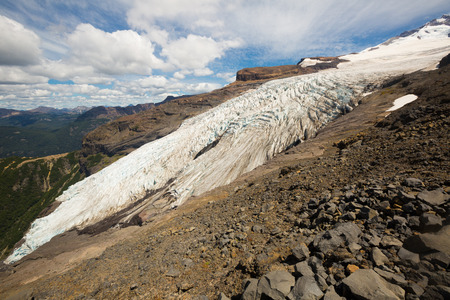 View of slopes and top of mountain Tronador and glaciers of Alerce and Castano Overa, Patagonia, Argentina Reklamní fotografie