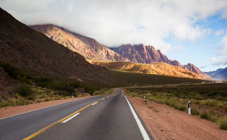 View from highway RN 7 to Andes mountains in summer day. Andes, Argentina, Chile Stock Photo
