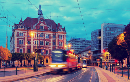 Picturesque cityscape of Szeged streets in night lights, Hungary Stock Photo