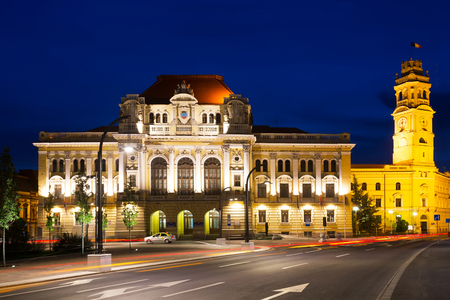 View of City Hall in Oradea town in night, Romania