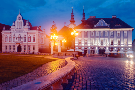 Photography of night light of Union Square in Romanian. Stock Photo