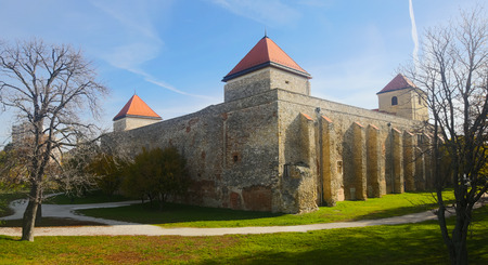 View of medieval Thury Castle on main square of hungarian city Varpalota