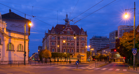 Nightlife of illuminated central Szeged streets, Hungary Stock Photo