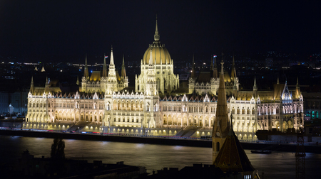 Photo of night light of Parlament in Budapest in Hungary outdoor.