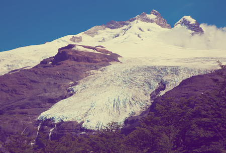 Volcano Tronador and glaciers of Alerce and Castano Overa on sunny day. Patagonia, Argentina Reklamní fotografie