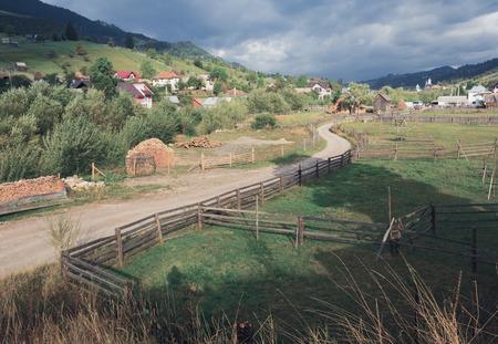 Rural landscape of romanian village Sadova, Suceava county, Romania