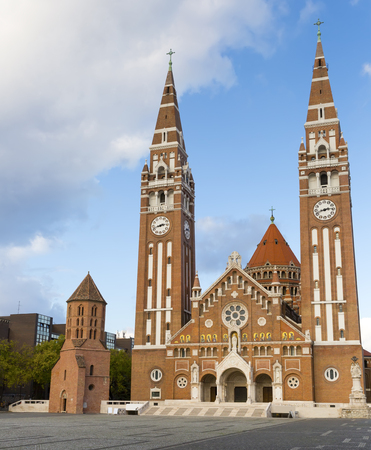 Votive Church and Cathedral of Our Lady on main square of Szeged in autumn day, Hungary