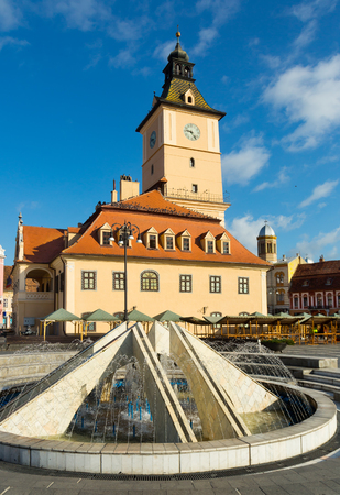 View of centre of medieval Brasov with Council House, Romania