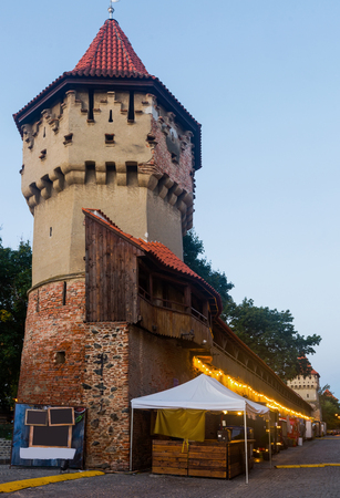 Image of Turnul Dulgherilor is architecture landmark of Sibiu in Romania.