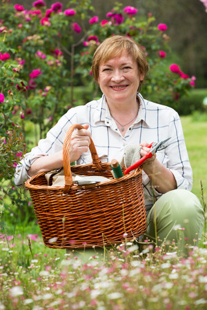 portrait of cheerful retiree woman with basket and gardening tools standing outdoors  Stock Photo