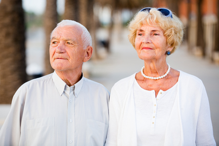 portrait of old happy pensioners male and female at leisure